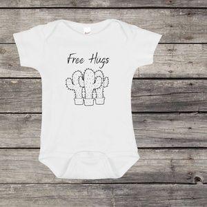 Free Hugs Baby Onesie- Cactus Baby Onesie